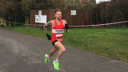 Danny Rock approaches the finish to the Hadleigh 10-mile race. He lifted the title in a time of 54mi