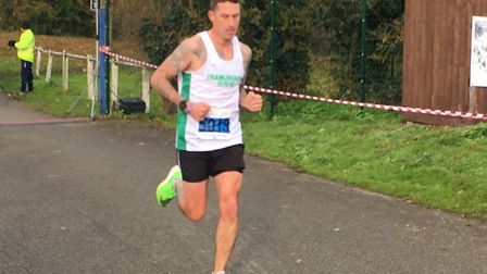 Lee Barber covers the final few metres on his way to victory in the Hadeigh five-miler. Picture: CAR