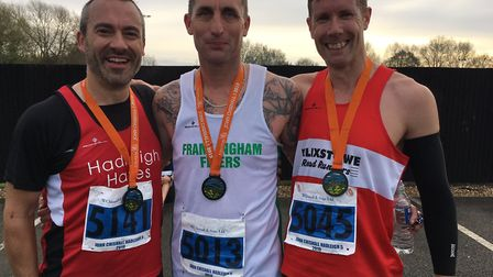 The top three in the Hadleigh five-mile race, from left: John Scaife (third), Lee Barber (winner) an
