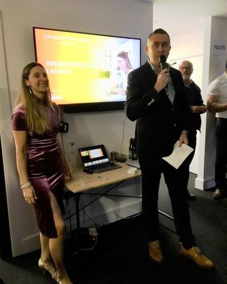 Hermione Way with Peter Brady at the launch of the Innovation Hub in Stowmarket Picture: ARCHANT