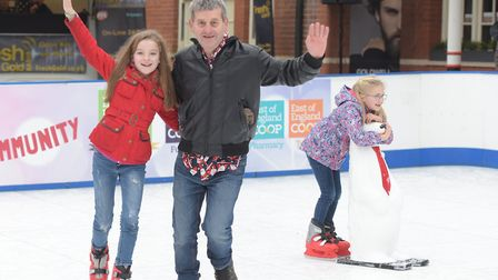 William Watts and his granddaughter Sophie Burch try out their skating skills Picture: SARAH LUCY B