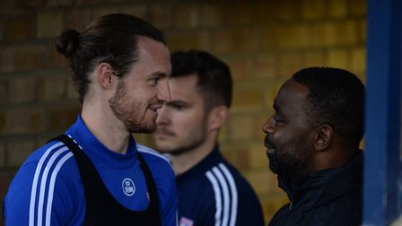 Will Keane speaks to Manchester United legend Andy Cole in the tunnel at Southend Picture Pagepix Lt