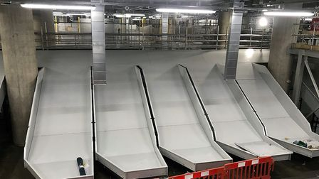 The new baggage delivery chutes underneath the main terminal which will transport up to 30,000 bags