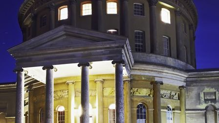 The Rotunda at Ickworth lit up at night for a special opening during the outdoor cinema event 'State