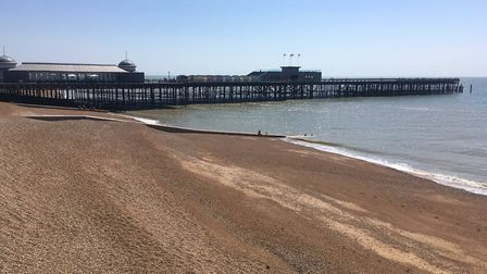 Hastings pier, a welcome sight for participants in the Hastings parkrun. The pier is near the half-w