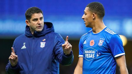 Ipswich Town assistant manager, pictured with Myles Kenlock during the first staging of this tie.