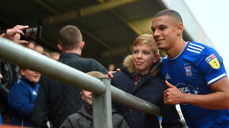 Town fans want pictures with goalscorer Kayden Jackson as he makes his way back to the dugout after