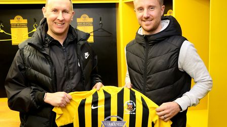 Stowmarket Town's new signing, Dean Bowditch, right, with assistant manager Paul Musgrove. Picture: