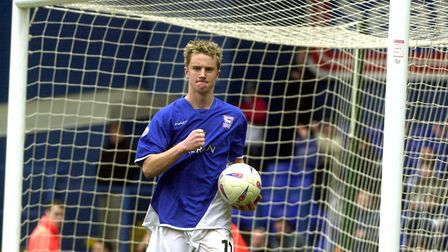 Dean Bowditch celebrates a hat-trick for Town against Watford in 2004. Photo: ARCHANT