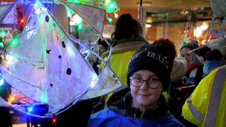 Children at the parade in Bury St Edmunds last night which opened the Christmas Fayre. Picture: WEST