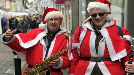 Muscial Santas entertained the crowds at day three of the Bury St Edmunds Christmas Fayre 2019. Pict