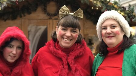 Santa's little helpers outside his grotto on day three of the Bury St Edmunds Christmas Fayre 2019.