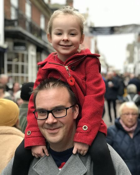 Families join the crowds enjoy day three of the Bury St Edmunds Christmas Fayre 2019. Picture: Laure