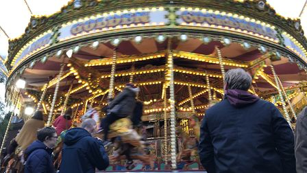 Families enjoy the rides at day three of the Bury St Edmunds Christmas Fayre 2019. Picture: Lauren D
