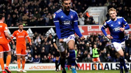 Luke Garbutt celebrates his equalising penalty during Town's 2-2 draw with Blackpool at Portman Road