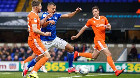 Kayden Jackson races into the area against Blackpool - Karl doesn't like him playing up top on his o
