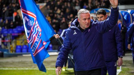 Town manager Paul Lambert waves to fans ahead of the game.Picture: Steve Waller www.stephenwalle