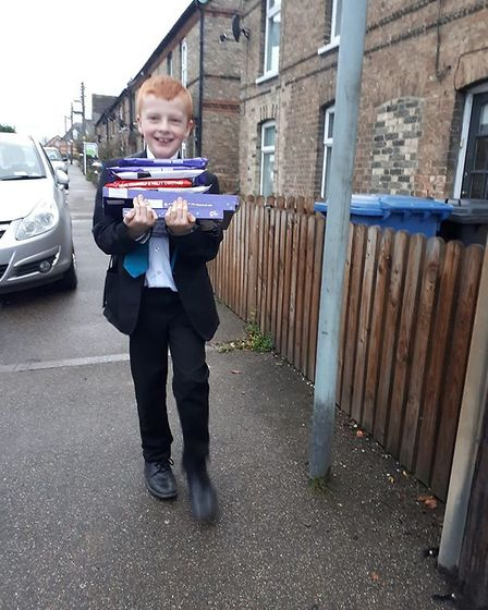 Blake walking home with more selection boxes for young carers Picture: LIBBY LEONARD