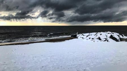 The arrival of the Beast from the East was felt everywhere, including Felixstowe beach Picture: EVE