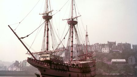 The Mayflower II, a replica of the 17th-century ship Mayflower, celebrated for transporting the Pilg