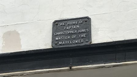 The plaque on the house where the captain of the Mayflower, Christopher Jones, once lived, in Harwic