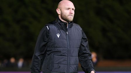 Maldon & Tiptree manager, Wayne Brown, pictured before the FA Cup tie against Newport County. Pictur