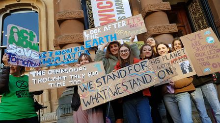 Suffolk students gathered at the Cornhill in Ipswich as part of a strike for climate change. Picture