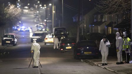 Forensic Officers in Willingdale Road near Debden Park High School, in Loughton, Essex Picture: RIC