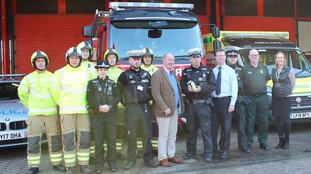 Emergency services gathered at the joint ambulance and fire station in Bury St Edmunds to launch the
