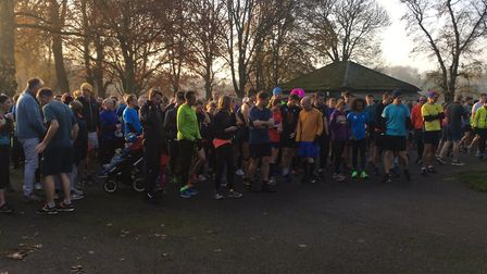 Runners congregate on a cold, crisp morning for the 415th Gunnersbury parkrun, in West London, last