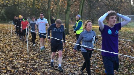 Runners catch their breath in the finish funnel at the end of last Saturday's Gunnersbury parkrun. P