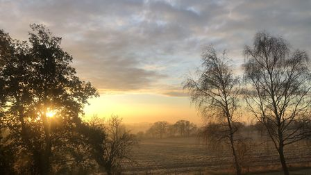 Sunrise over icy Suffolk Picture: CHARLOTTE CURTIS