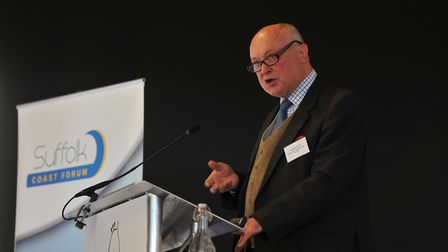 Cllr David Ritchie speaking at the Suffolk Coast Forum Annual Conference. Picture: SARAH LUCY BROWN
