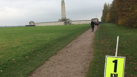 The one-kilometre mark, with the Chatham Naval Memorial in the background. Picture: CARL MARSTON