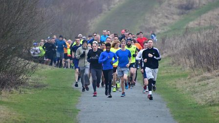The head of the field at the weekly Great Notley parkrun, near Braintree in Essex. Picture: MIKE ELD