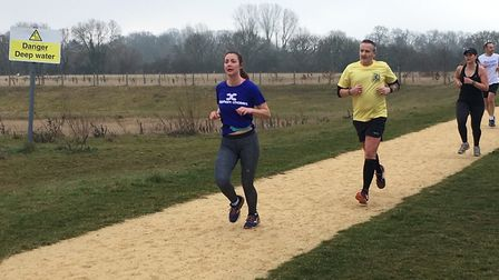 The sign says 'Danger, Deep Water' but there was no water to be seen at the Great Denham parkrun, ap