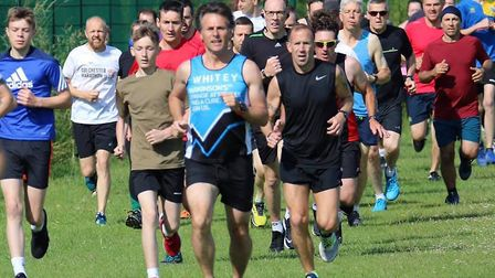 Runners set off at the start of the Great Cornard parkrun, held over a dead-flat course, Picture: CO