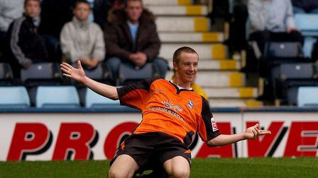 Dean Bowditch celebrates scoring for Ipswich Town, during the 2-1 win at Highfield Road, in October,