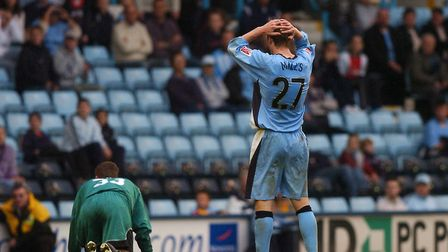 The winner: Coventry City defender Matt Mills is devasted after scoring an own goal to give Ipswich