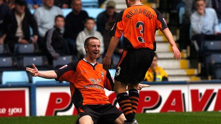 Dean Bowditch celebrates his goal with Matt Richards, during Town's last ever visit to Coventry City