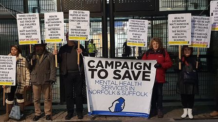 Members of the Campaign to Save Mental Health Services in Norfolk and Suffolk, pictured here protest