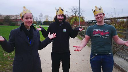Otley College students Charlotte Cook, Ryan Crisp and Thomas Hassler are the three wise men in despe