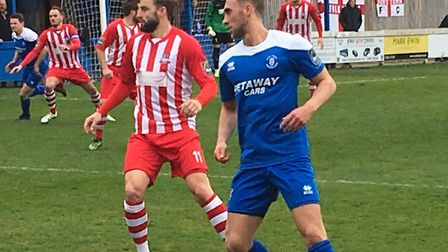 Bury Town midfielder Ryan Horne, who is set to be sidelined for up to a year with ruptured knee liga