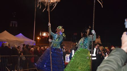 As well as illuminations, circus performers paraded through the town's streets to the delight of the