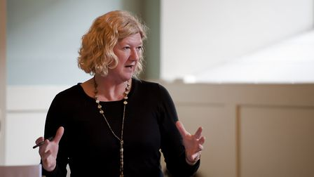 Karen Simpson photographed in rehearsals for Bury Theatre Royal's anniversary musical Labour of Love