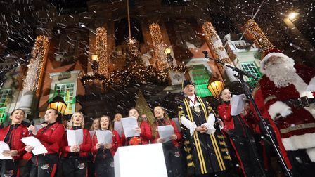 Colchester's 2019 Christmas lights switch on. The Evolution College Choir with santa and Colchester