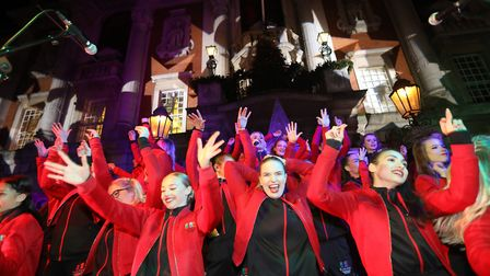 Colchester's 2019 Christmas lights switch on. The Evolution College Choir. Picture: STEVE BRADING