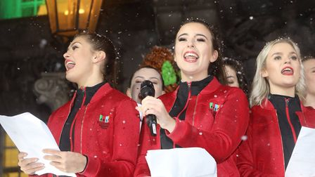 Colchester's 2019 Christmas lights switch on. The Evolution College Choir perform. Picture: STEVE BR