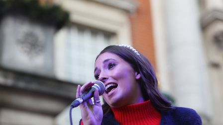 Colchester's 2019 Christmas lights switch on. Yazmin Wood performing. Picture: STEVE BRADING