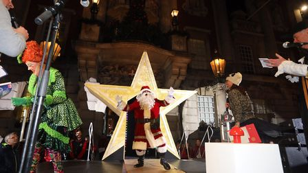 Colchester's 2019 Christmas lights switch on. Santa arrives on stage. Picture: STEVE BRADING